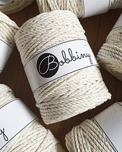 Bobbiny 3Ply Makrame Lanka Golden Natural 5mm 100m Image